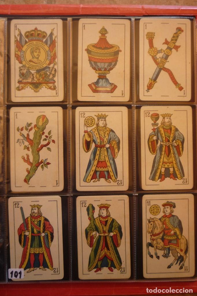 NAIPES 'GUARRO' BARCELONA. 48 CARTAS. TIMBRE DEL ESTADO 1 PESETA EN 5 DE ESPADAS (Juguetes y Juegos - Cartas y Naipes - Baraja Española)