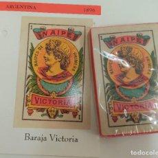 Barajas de cartas: BARAJA VICTORIA - ARGENTINA - S. XX - FACSIMIL. Lote 159731970
