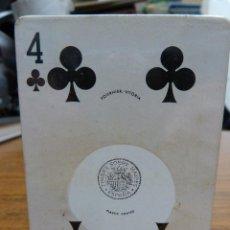 Barajas de cartas: BARAJA DE POKER DE FOURNIER CON SELLO TIMBRE SOBRE NAIPES NUEVA SIN USAR. Lote 161493482