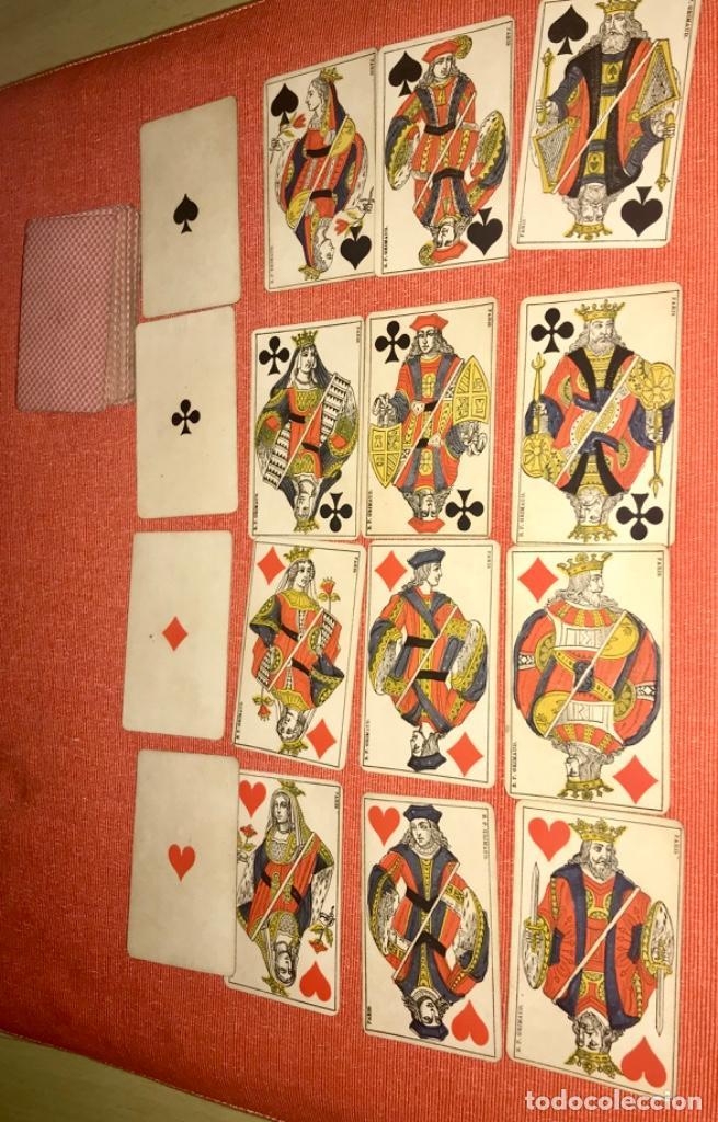 Barajas de cartas: antigua baraja francesa original b p grimaud completa s XIX 52 cartas naipes francia pintura mano - Foto 2 - 163428694