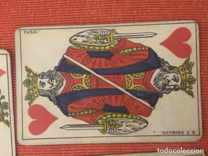 Barajas de cartas: antigua baraja francesa original b p grimaud completa s XIX 52 cartas naipes francia pintura mano - Foto 3 - 163428694