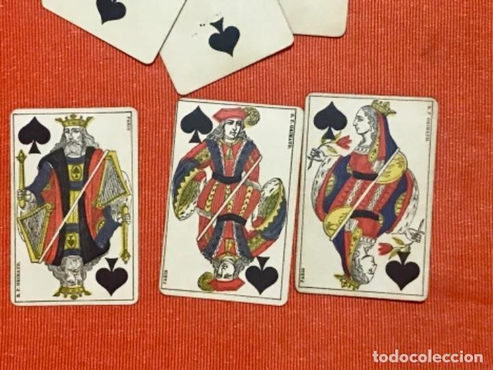 Barajas de cartas: antigua baraja francesa original b p grimaud completa s XIX 52 cartas naipes francia pintura mano - Foto 4 - 163428694