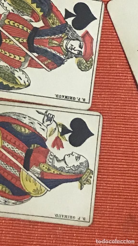 Barajas de cartas: antigua baraja francesa original b p grimaud completa s XIX 52 cartas naipes francia pintura mano - Foto 5 - 163428694