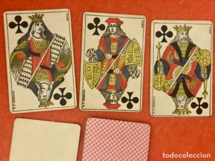 Barajas de cartas: antigua baraja francesa original b p grimaud completa s XIX 52 cartas naipes francia pintura mano - Foto 10 - 163428694