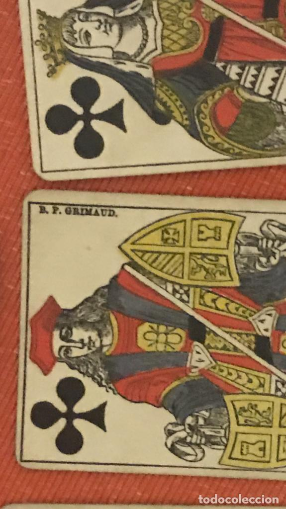 Barajas de cartas: antigua baraja francesa original b p grimaud completa s XIX 52 cartas naipes francia pintura mano - Foto 11 - 163428694