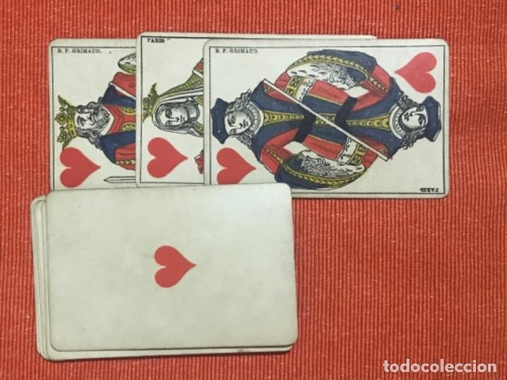 Barajas de cartas: antigua baraja francesa original b p grimaud completa s XIX 52 cartas naipes francia pintura mano - Foto 16 - 163428694
