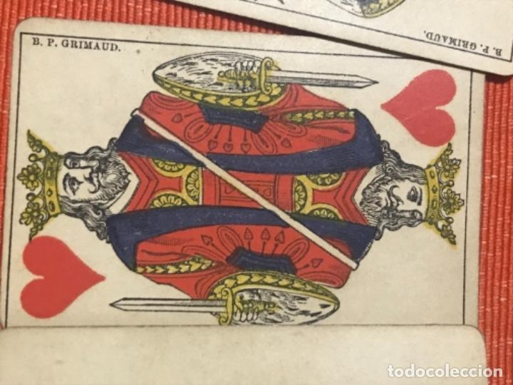 Barajas de cartas: antigua baraja francesa original b p grimaud completa s XIX 52 cartas naipes francia pintura mano - Foto 17 - 163428694