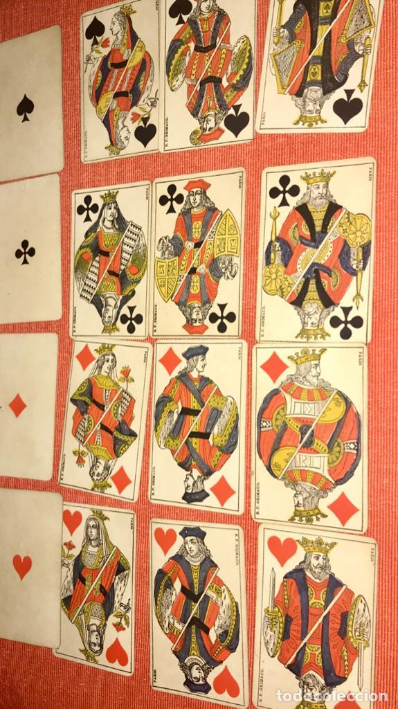 Barajas de cartas: antigua baraja francesa original b p grimaud completa s XIX 52 cartas naipes francia pintura mano - Foto 25 - 163428694