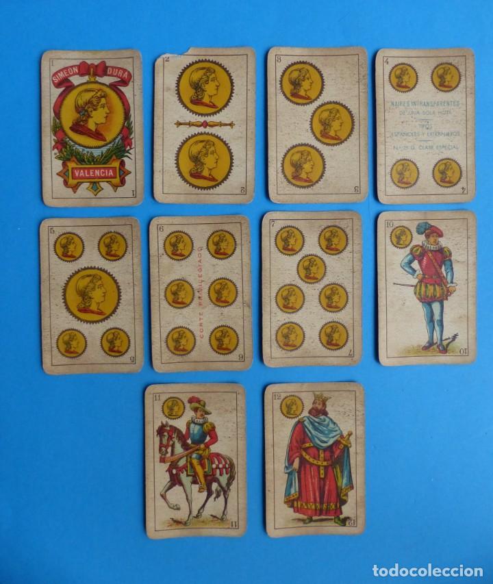BARAJA ANTIGUA SIMEON DURA VALENCIA NAIPES INTRANSPARENTES UNA SOLA HOJA Nº 25-G COMPLETA 40 CARTAS (Juguetes y Juegos - Cartas y Naipes - Baraja Española)