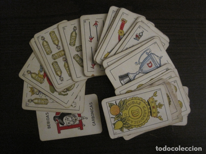 BARAJA DE CARTAS ANTIGUA-PUBLICIDAD GASEOSAS D-ANTECESOR COCA COLA-NAIPES COMAS-VER FOTOS-(CR-2520) (Juguetes y Juegos - Cartas y Naipes - Otras Barajas)