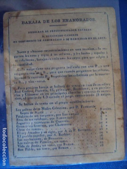 Barajas de cartas: (BA-190501)BARAJA DE LOS ENAMORADOS. DEDICADA AL PRESTIDIGITADOR CATALÁN D. FRUCTUOSO CANONJE XIX - Foto 2 - 166542314