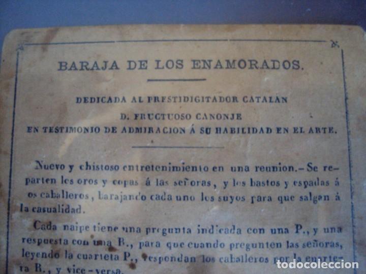 Barajas de cartas: (BA-190501)BARAJA DE LOS ENAMORADOS. DEDICADA AL PRESTIDIGITADOR CATALÁN D. FRUCTUOSO CANONJE XIX - Foto 3 - 166542314