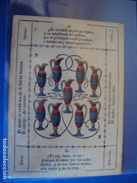 Barajas de cartas: (BA-190501)BARAJA DE LOS ENAMORADOS. DEDICADA AL PRESTIDIGITADOR CATALÁN D. FRUCTUOSO CANONJE XIX - Foto 43 - 166542314