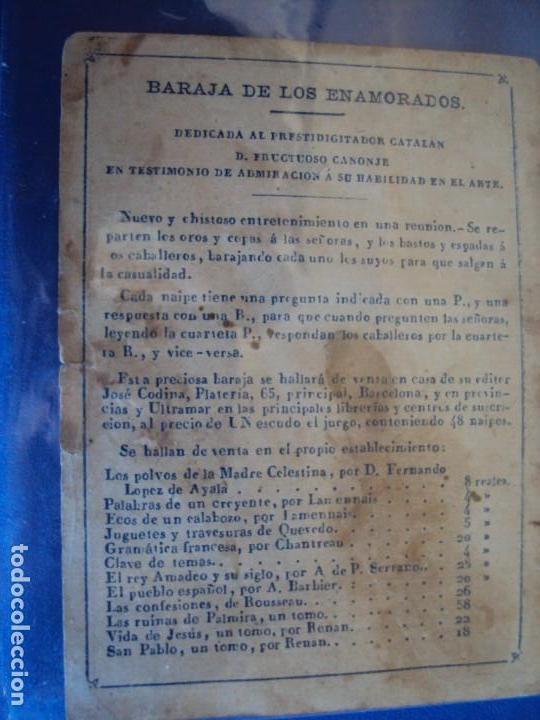 Barajas de cartas: (BA-190501)BARAJA DE LOS ENAMORADOS. DEDICADA AL PRESTIDIGITADOR CATALÁN D. FRUCTUOSO CANONJE XIX - Foto 94 - 166542314