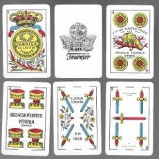 Barajas de cartas: BARAJA ESPAÑOLA FABRICA DE LOS DOS TIGRES, 50 CARTAS, DE 1962, SIN TIMBRE Y SIN ESTRENAR. CANTOS RED. Lote 166861541