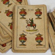 Barajas de cartas: BARAJA COMPLETA 40 CARTAS EL CID, SIMEON DURA EN VALENCIA. TIMBRE 1,25 PTS.. Lote 167093536