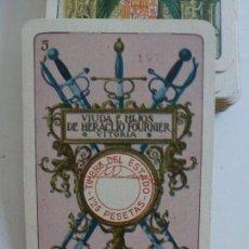 Barajas de cartas: BARAJA NAIPES EXPOSICIÓN IBEROAMERICANA VDA. E HIJOS FOURNIER SEVILLA Y BARCELONA 1929 - TIMBRE RARO. Lote 168488280