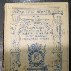 Barajas de cartas: NAIPES INSTRUCTIVOS. D. JAIME MARGARIT 1888, , POR ESTRENAR /// PALAMOS,///. Lote 169458092