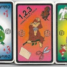 Barajas de cartas: 3 BARAJAS INFANTILES, JUEGOS: ADIVINOCHINO, 1,2,3 PIEDRA, PAPEL O TIJERA Y EL BURRO. PRECINTADAS.. Lote 173038920