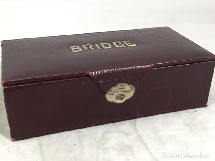 ANTIGUO ESTUCHE PARA BARAJAS DE BRIDGE CIERRE Y LETRAS EN PLATA CON PUNZONES (Juguetes y Juegos - Cartas y Naipes - Otras Barajas)