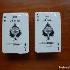 Barajas de cartas: DOS MINI BARAJAS NAIPES POKER MODELO AVIÓN 201 - PRECINTADAS. Lote 175350047