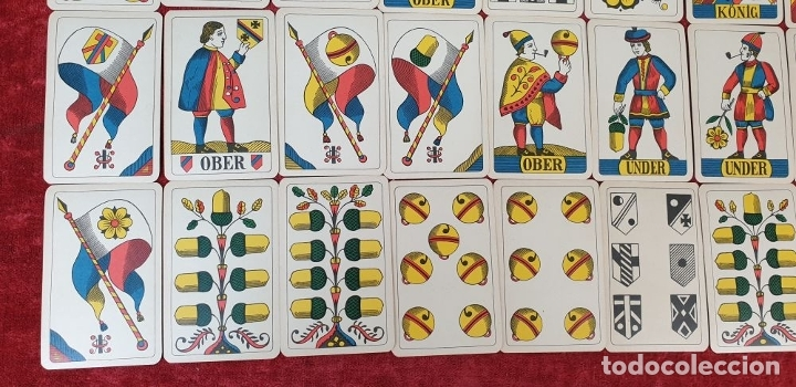 Barajas de cartas: JUEGO DE CARTAS. 36 NAIPES. IMPRESO EN LITOGRAFÍA. J. MÜLLER. SUIZA. SIGLO XIX-XX - Foto 4 - 177459518