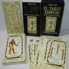 Barajas de cartas: BARAJA + LIBRO EL TAROT EGIPCIO, LAURA TUAN, A. TACCORI, EDITORIAL DE VECCHI. Lote 178737262