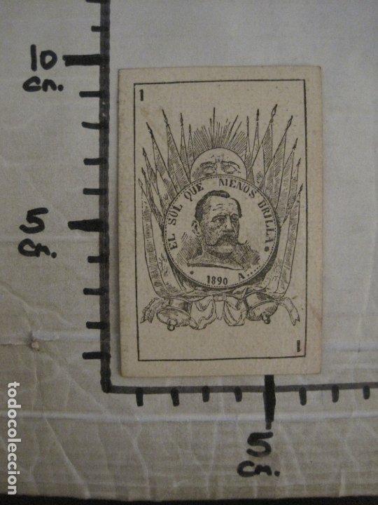 Barajas de cartas: BARAJA POLITICA-AÑO 1890-INCOMPLETA FALTA UNA CARTA-VER FOTOS-(CR-1007) - Foto 28 - 179533270