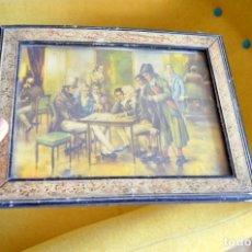 Barajas de cartas: CUADRO JUGADORES BARAJA DE CARTAS POKER O ESPAÑOLA. 1910 APROXIMADO. Lote 180011526