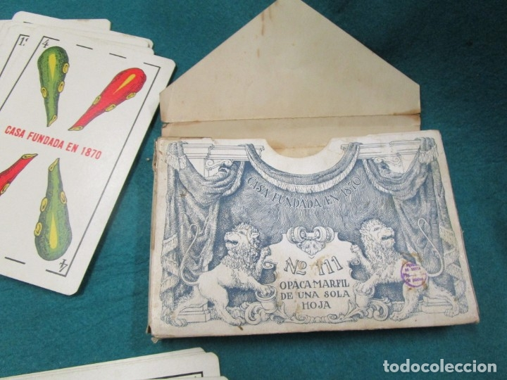 Barajas de cartas: BARAJA ESPAÑOLA, TAMAÑO GIGANTE NAIPES HERACLIO FOURNIER Nº 111 OPACA MARFIL 1 HOJA, EXCELENTE, CAJA - Foto 2 - 180017870