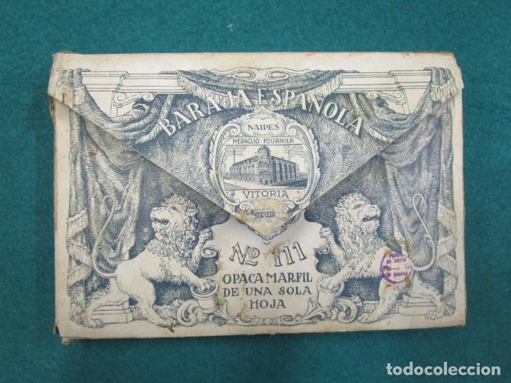 Barajas de cartas: BARAJA ESPAÑOLA, TAMAÑO GIGANTE NAIPES HERACLIO FOURNIER Nº 111 OPACA MARFIL 1 HOJA, EXCELENTE, CAJA - Foto 3 - 180017870