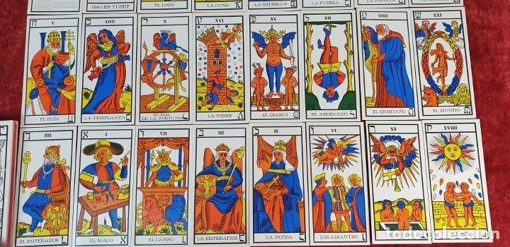 Barajas de cartas: JUEGO DE CARTAS DEL TAROT. 24 CARTAS. GRANDES ARCANOS. GALES-TUSET. 1968. - Foto 7 - 181557002