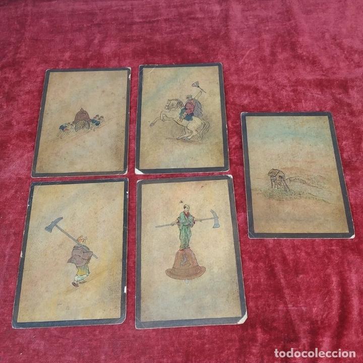 Barajas de cartas: 5 NAIPES UKIYO-E. PINTURA SOBRE CARTÓN. JAPÓN. SIGLO XIX - Foto 2 - 182265243