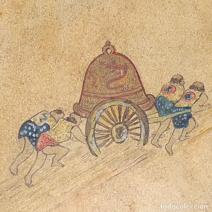 Barajas de cartas: 5 NAIPES UKIYO-E. PINTURA SOBRE CARTÓN. JAPÓN. SIGLO XIX - Foto 3 - 182265243