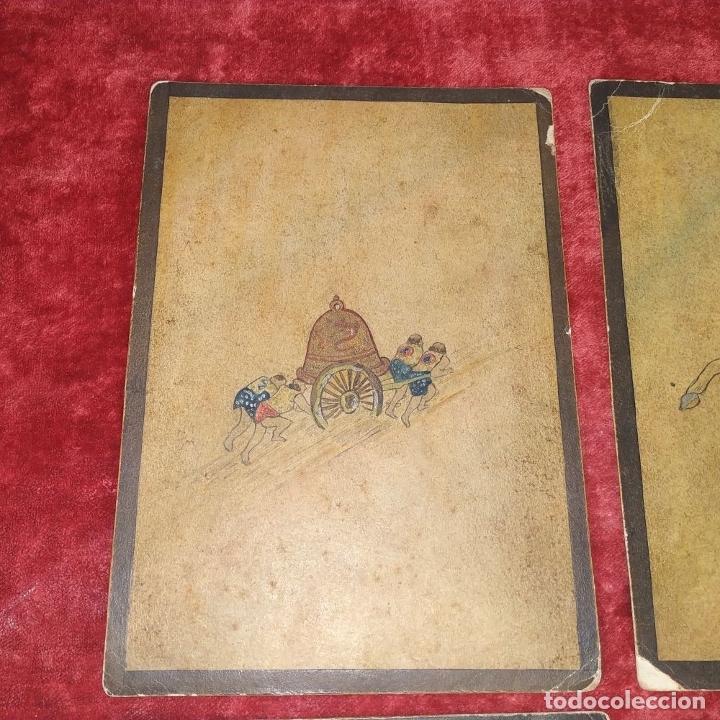 Barajas de cartas: 5 NAIPES UKIYO-E. PINTURA SOBRE CARTÓN. JAPÓN. SIGLO XIX - Foto 4 - 182265243