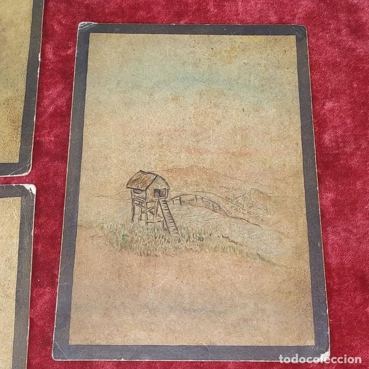 Barajas de cartas: 5 NAIPES UKIYO-E. PINTURA SOBRE CARTÓN. JAPÓN. SIGLO XIX - Foto 7 - 182265243