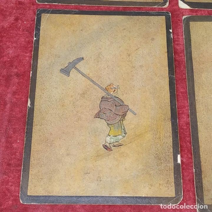 Barajas de cartas: 5 NAIPES UKIYO-E. PINTURA SOBRE CARTÓN. JAPÓN. SIGLO XIX - Foto 9 - 182265243