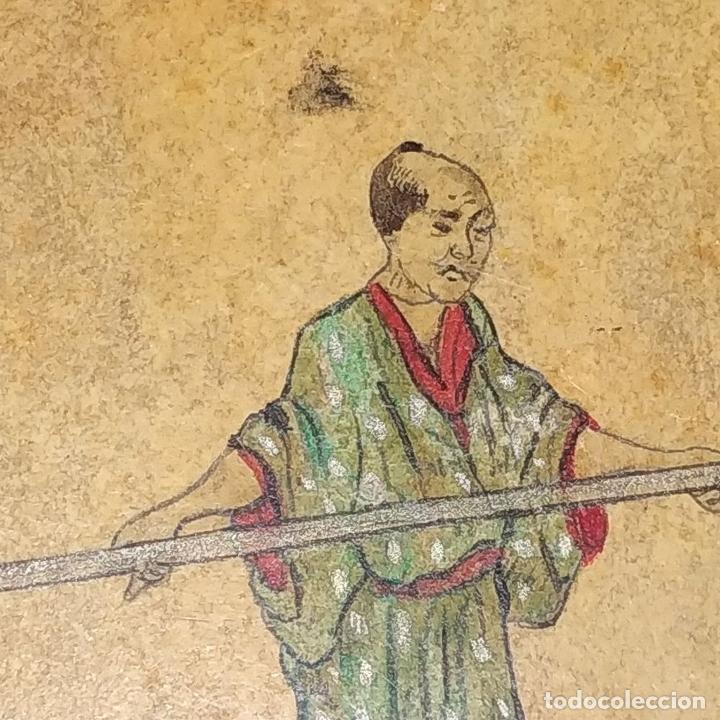 Barajas de cartas: 5 NAIPES UKIYO-E. PINTURA SOBRE CARTÓN. JAPÓN. SIGLO XIX - Foto 11 - 182265243
