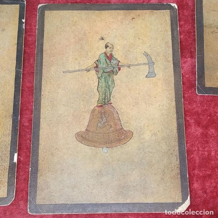 Barajas de cartas: 5 NAIPES UKIYO-E. PINTURA SOBRE CARTÓN. JAPÓN. SIGLO XIX - Foto 12 - 182265243