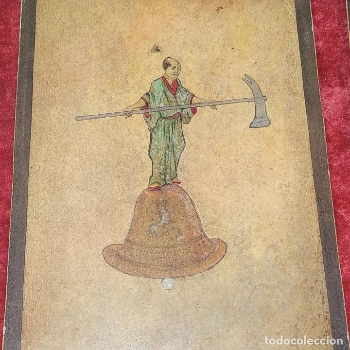 Barajas de cartas: 5 NAIPES UKIYO-E. PINTURA SOBRE CARTÓN. JAPÓN. SIGLO XIX - Foto 13 - 182265243