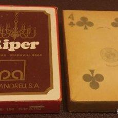 Barajas de cartas: BARAJA DE CARTAS H FOURNIER PUBLICIDAD DE LÁMPARAS RIPER PERIS ANDREU S. A. MBE ORIGINAL AÑOS 60. Lote 183530016
