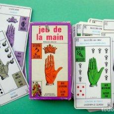 Barajas de cartas: JEU DE LA MAIN PALMISTRY RARO TAROT ANTIGUAS CARTAS DE QUIROMANCIA. ADIVINACIÓN.CARTOMANCIA GRIMAUD.. Lote 194995151