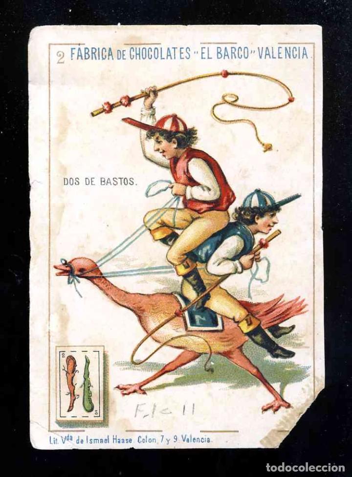 BARAJA DE CHOCOLATES EL BARCO, GRANDE: 2 DE BASTOS (Juguetes y Juegos - Cartas y Naipes - Baraja Española)