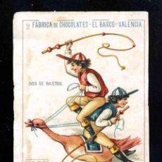 Barajas de cartas: BARAJA DE CHOCOLATES EL BARCO, GRANDE: 2 DE BASTOS. Lote 184828932
