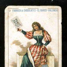 Barajas de cartas: BARAJA DE CHOCOLATES EL BARCO, GRANDE: 9 DE ESPADAS. Lote 184829046