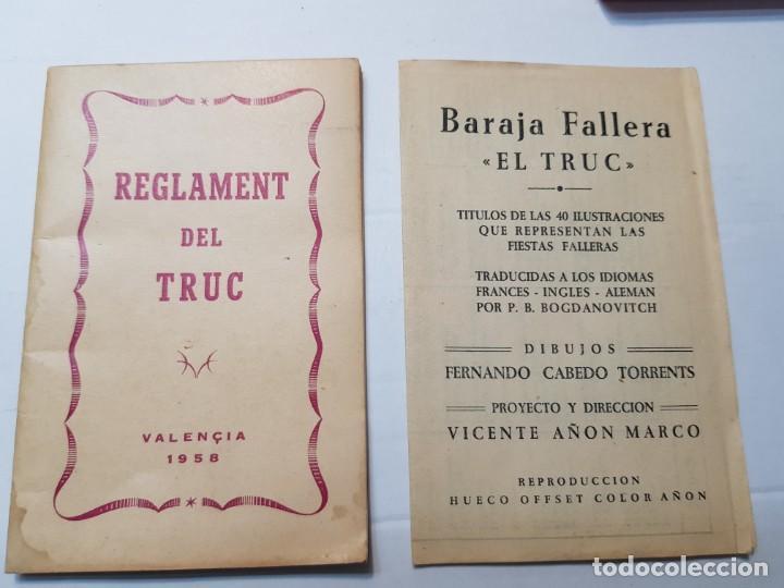 Barajas de cartas: Baraja fallera EL TRUC 1958 completa en caja original y varios reglamentos añadidos - Foto 3 - 184832926