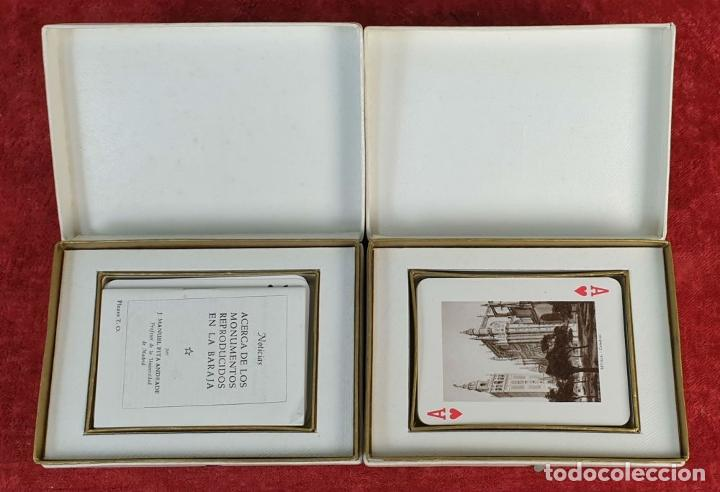 Barajas de cartas: PAREJA DE JUEGO DE CARTAS. MONUMENTOS DE ESPAÑA. HERACLIO FOURNIER. 1959. - Foto 3 - 187289310