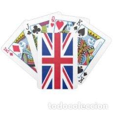 Barajas de cartas: LOTE BARAJA DE POKER CON EL REVERSO DE LA BANDERA BRITANICA. Lote 187436618
