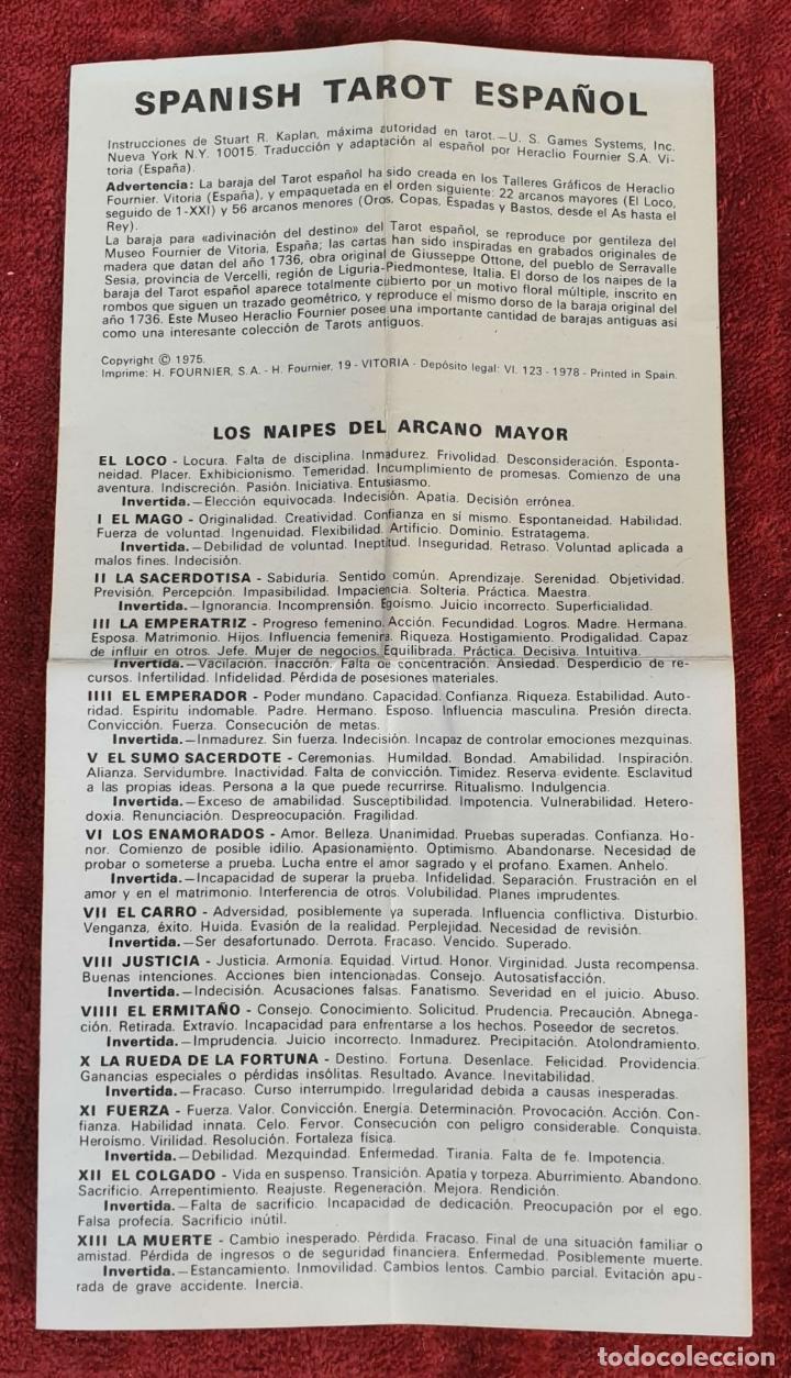 Barajas de cartas: TAROT ESPAÑOL. 78 CARTAS. COMPLETO. REPRODUCCIÓN DE UNO DE 1736. HERACLIO FOURNIER. 1975. - Foto 3 - 187665121
