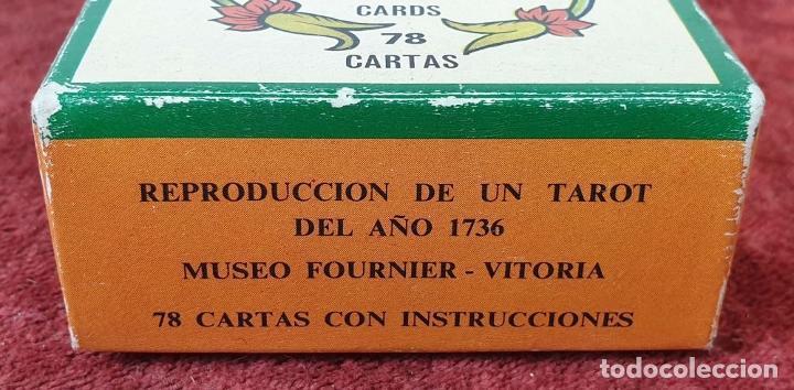 Barajas de cartas: TAROT ESPAÑOL. 78 CARTAS. COMPLETO. REPRODUCCIÓN DE UNO DE 1736. HERACLIO FOURNIER. 1975. - Foto 6 - 187665121